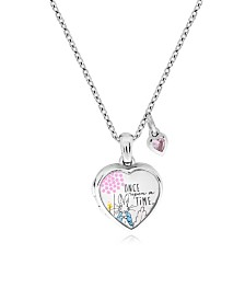 Beatrix Potter Sterling Silver Peter Rabbit Cubic Zirconia Heart Locket Necklace