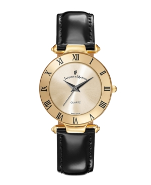 Jacques Du Manoir Ladies' Black Genuine Leather Strap with Goldtone Case and Dial