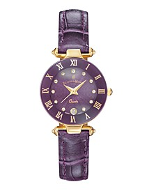 Jacques Du Manoir Ladies' Purple Genuine Leather Strap with Goldtone Case and Purple Dial with Diamond Markers, 26mm