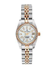 Jacques Du Manoir Ladies' Two Tone Silver or Gold Rose Stainless Steel Bracelet with Twotone Case and Mother of Pearl Dial and Diamond Markers and Bezel, 26mm