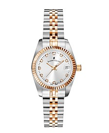Jacques Du Manoir Ladies' Two Tone Silver or Gold Rose Stainless Steel Bracelet with Twotone Rosegoldtone Case and Mother of Pearl Dial, 26mm