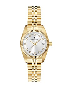 Jacques Du Manoir Ladies' Goldtone Stainless Steel Bracelet with Goldtone Case and Mother of Pearl Dial and Diamond Markers, 26mm