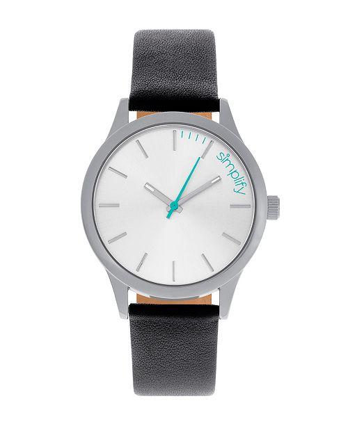Simplify Quartz The 2400 Silver Dial, Genuine Black Leather Watch 42mm