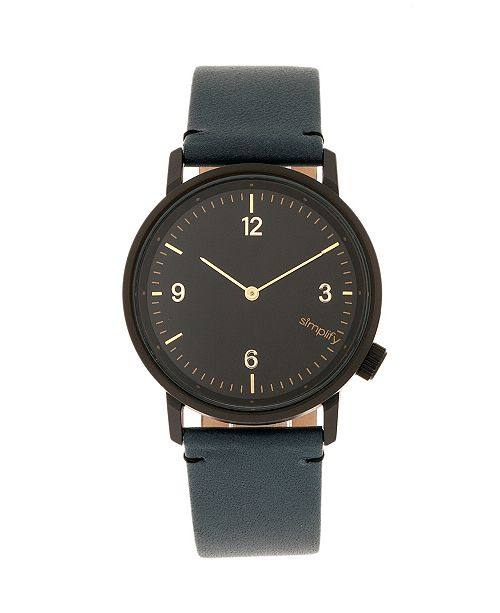 Simplify Quartz The 5500 Black Dial, Genuine Slate Leather Watch 41mm