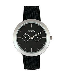 Simplify Quartz The 6100 Black Dial, Canvas-Overlaid Black Polyurethane Strap Watch 43mm