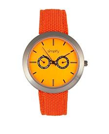 Simplify Quartz The 6100 Orange Dial, Canvas-Overlaid Polyurethane Orange Strap Watch 43mm