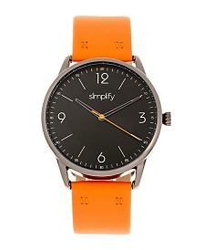 Simplify Quartz The 6300 Black Dial, Genuine Orange Leather Watch 41mm