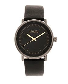 Simplify Quartz The 6200 Black Dial, Genuine Gunmetal Leather Watch 39mm