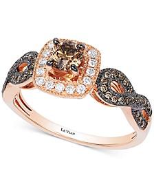 Chocolatier® Diamond Halo Ring (5/8 ct. t.w.) in 14k Rose Gold