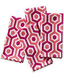 Multi-Stripe Coral Napkins, Set of 4