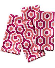 C. Wonder Multi-Stripe Coral Napkins, Set of 4