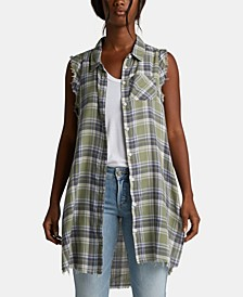Plaid Unfinished-Edge Shirt