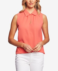 CeCe Sleeveless Peter Pan Collar Top