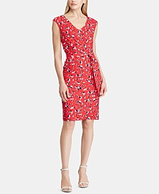 Lauren Ralph Lauren Petite Belted Floral Jersey Dress