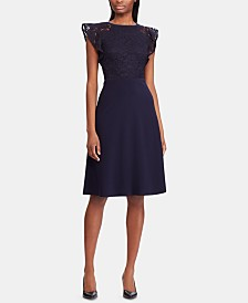 Lauren Ralph Lauren Petite Lace-Bodice Cocktail Dress