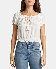 Stacey Cropped Tie-Neck Top