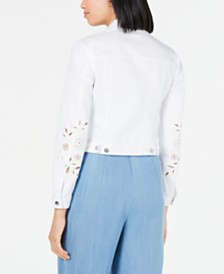 Maison Jules Eyelet-Sleeve Denim Jacket, Created for Macy's