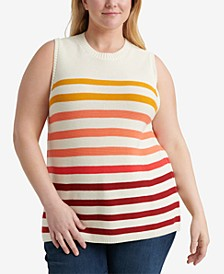 Plus Size Cotton Ombré Stripes Sweater