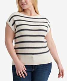 Lucky Brand Plus Size Stripe Short Sleeve Pullover Sweater