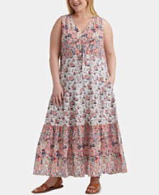 Lucky Brand Plus Size Cotton Chloe Maxi Dress