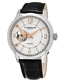 Men's Automatic Open-Heart Watch, Silver Tone Case on Black Alligator Embossed Genuine Leather Strap, Ivory Open-Heart Dial, with Rose Tone Accents