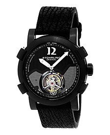 Men's Tourbillon, Black Case, Black Sharkskin Strap Watch
