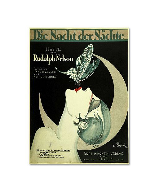 "Trademark Global Vintage Apple Collection 'Art Deco Music Sheet' Canvas Art - 24"" x 18"" x 2"""