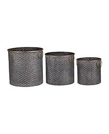 Seneca Metal Planters, Copper Band, Set of 3