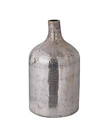 """18"""" Glass Vase, Vintage Mercury Finish"""