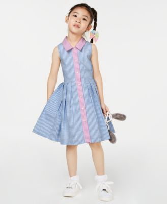 Little Girls Colorblocked Seersucker Gingham Shirtdress