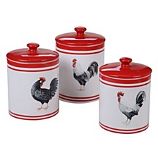 Homestead Rooster 3-Pc. Canister Set