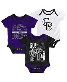 Baby Colorado Rockies Newest Rookie 3 Piece Bodysuit Set