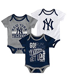 Baby New York Yankees Newest Rookie 3 Piece Bodysuit Set