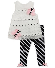 Rare Editions Little Girls 2-Pc. Butterfly Lace Tunic & Zebra-Print Leggings Set