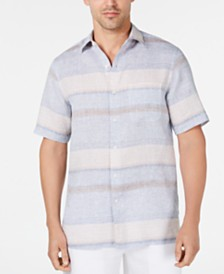 Tasso Elba Men's Horizontal Stripe Linen Shirt, Created for Macy's