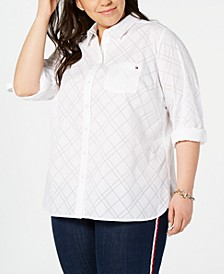 Plus Size Diamond Burnout Utility Shirt
