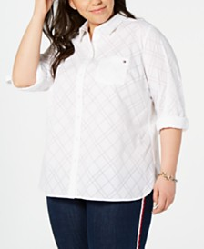 Tommy Hilfiger Plus Size Diamond Burnout Utility Shirt