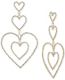 RACHEL Rachel Roy Gold-Tone Pavé Heart Triple Drop Earrings
