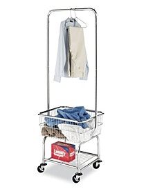 Commercial Rolling Laundry Butler with Wire Storage Rack