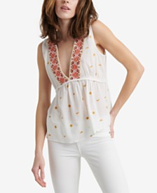 Lucky Brand Embroidered Sleeveless Romantic Top
