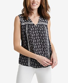 Lucky Brand Lana Printed Split-Neck Top
