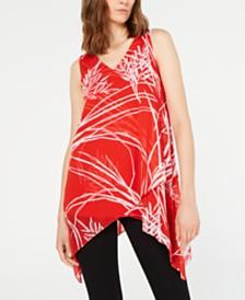 Alfani Printed Handkerchief-Hem Top, Created for Macy's