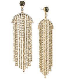 RACHEL Rachel Roy Gold-Tone Crystal & Bead Chain Chandelier Earrings