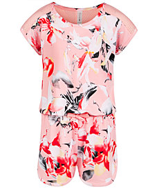 Ideology Little Girls Mesh Floral-Print Romper, Created for Macy's