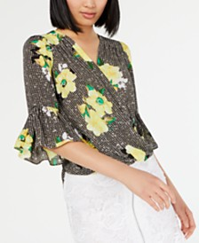 I.N.C. Petite Bell-Sleeve Printed Surplice Top, Created for Macy's