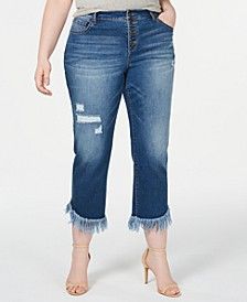 INC Plus Size Fringe-Hem Cropped Jeans, Created for Macy's