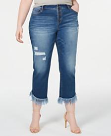 I.N.C. Plus Size Fringe-Hem Cropped Jeans, Created for Macy's