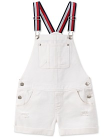 Tommy Hilfiger Toddler Girls Cotton Striped-Strap Denim Shortalls