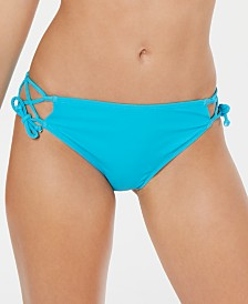 California Waves Juniors' Lace-Side Hipster Bikini Bottoms, Created for Macy's
