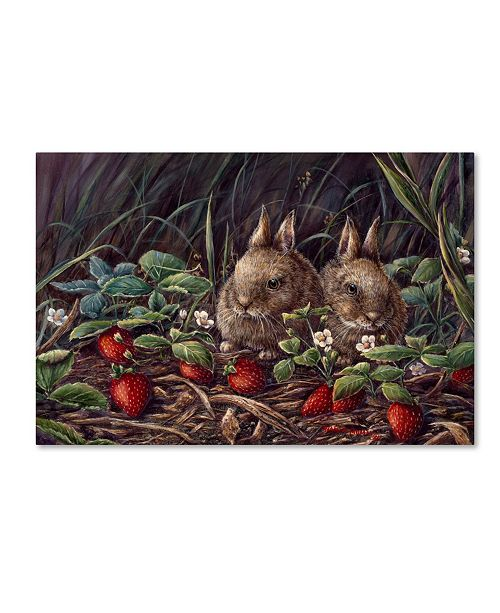 "Trademark Global Wanda Mumm 'Strawberry Bunnies' Canvas Art - 47"" x 30"" x 2"""